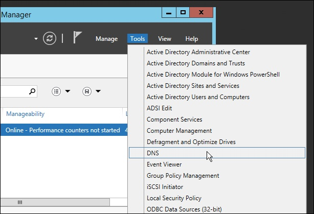 Opening the DNS Manager in Windows Server 2012