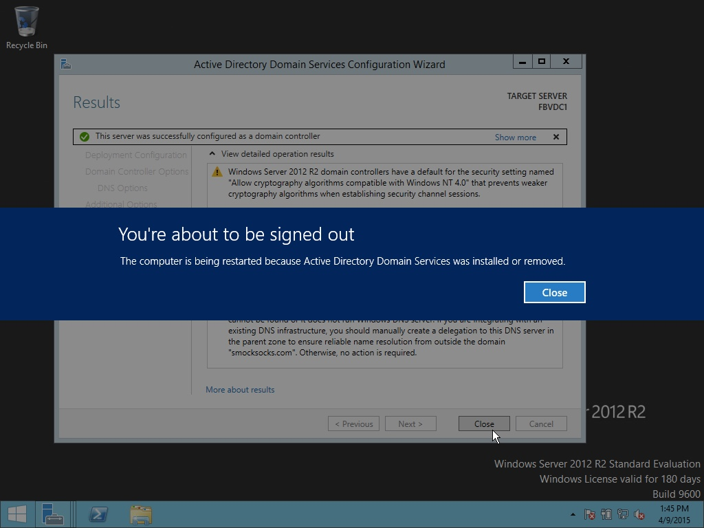 Windows Server 2012 You're about to be signed out