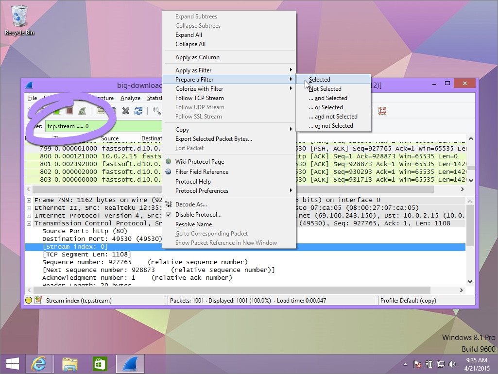 Prepare as Stream in Wireshark