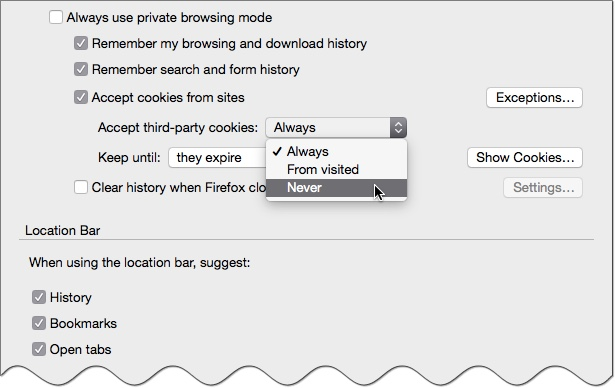 Tell Firefox to never accept third-party cookies