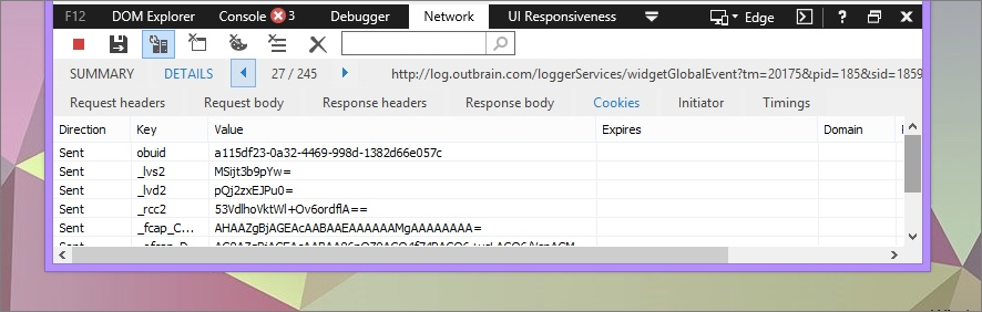 Cookies in Network Tab