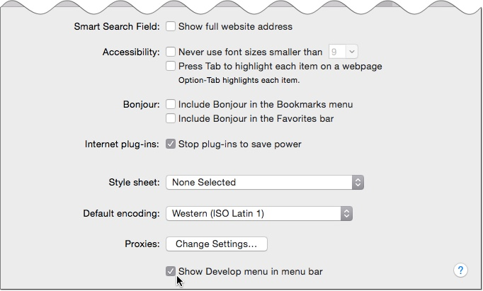 Show Safari Developer Toolbar