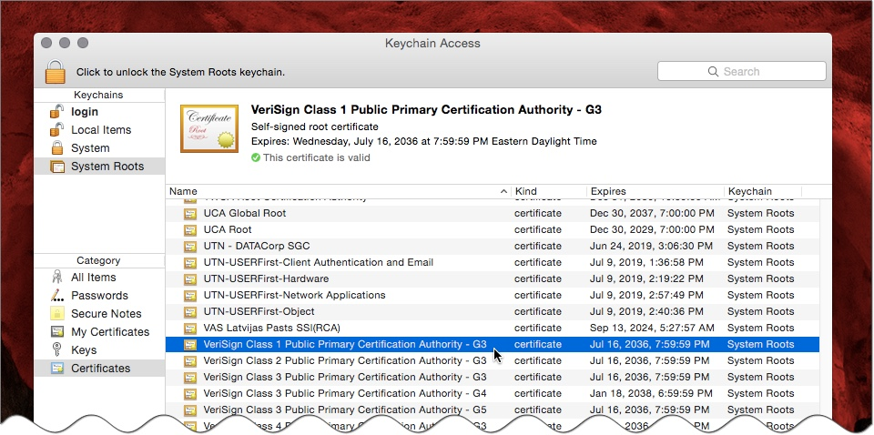 Trusted Root Certificates on Mac