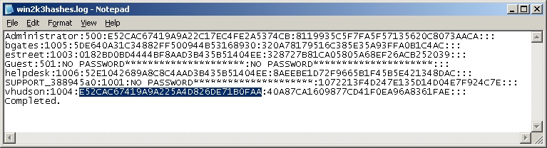 Windows 2003 Hashes