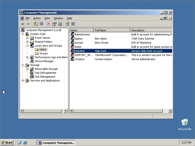 WIndows 2003 Server accounts