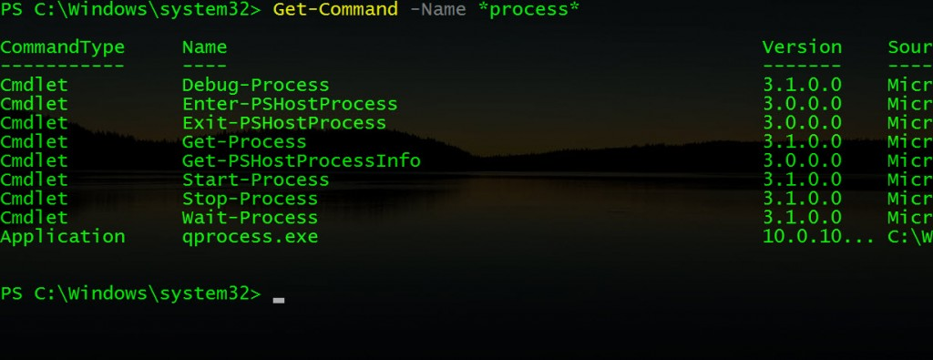PowerShell -Get-Command -Name Process
