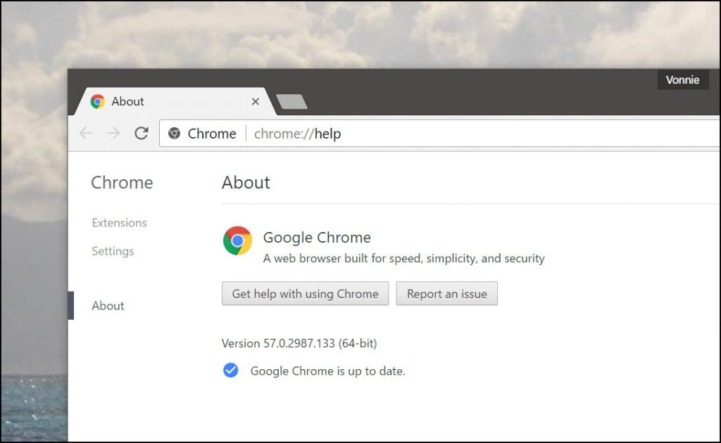 Google Chrome version
