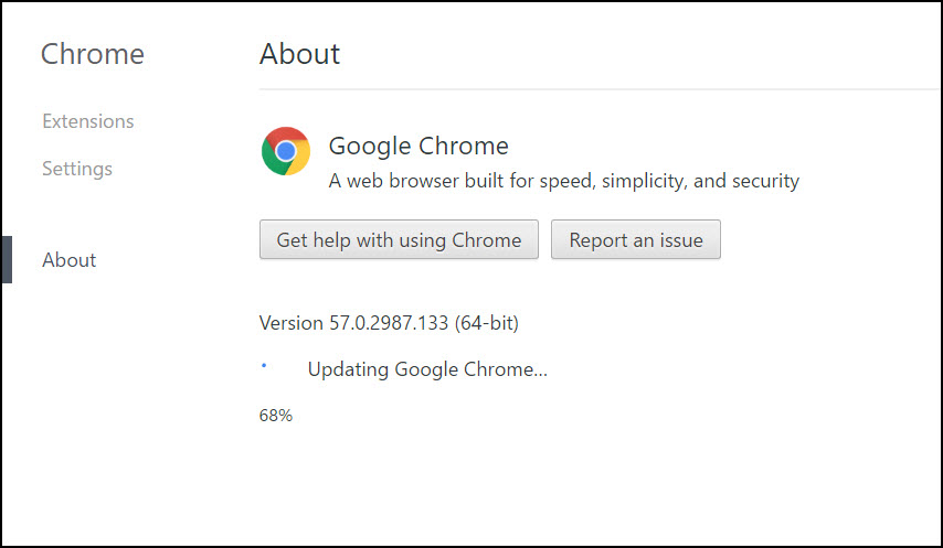 Upgrade Chrome