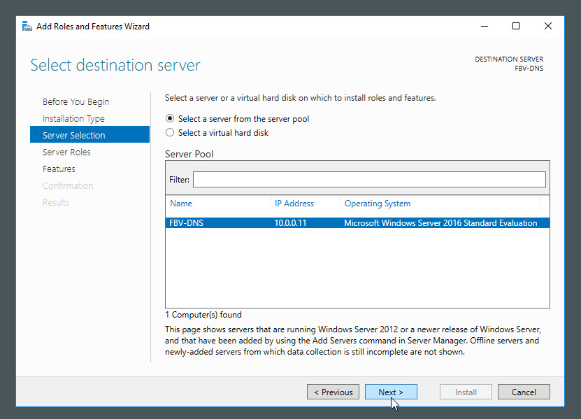 Add the DNS server role to Windows Server 2016