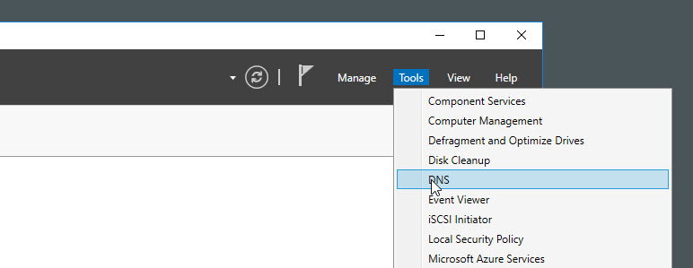 DNS manager Windows Server 2016