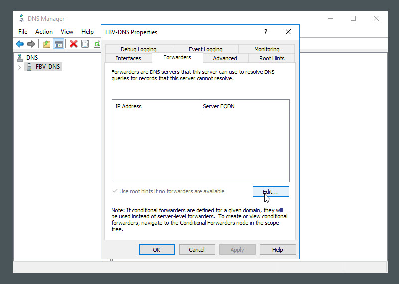 DNS Forwarders in Windows Server 2016