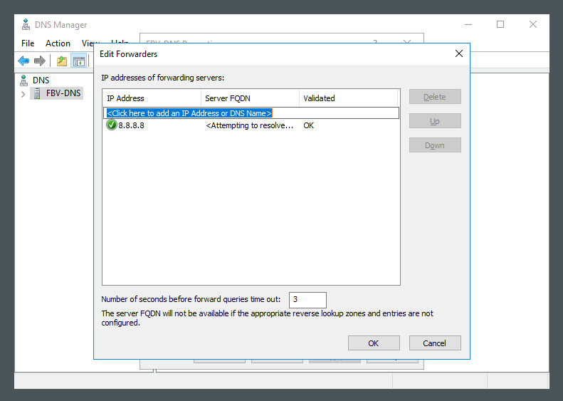 Adding our DNS forwarder to Windows Server 2016
